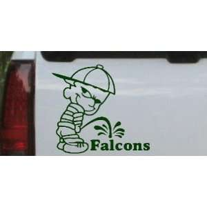 Pee On Falcons Car Window Wall Laptop Decal Sticker    Dark Green 18in