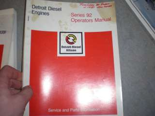 Detroit Diesel Allison series 92 operators manual