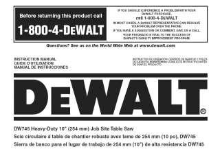 dewalt 10 table saw instruction user manual model dw745