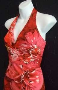 DONNA RICCO pink red halter stretch cotton dress NWT 6