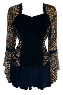 PLUS BLACK GOLD ANIMAL PRINT BROCADE STYLE CORSET BLOUSE 1X 2X 3X 4X