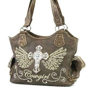 Brown Western Cowgirl Rhinestone Cross Angel Wings Handbag Purse