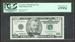 50 DOLLAR FEDERAL RESERVE FRN STAR NOTE PCGS CURRENCY SUPERB GEM 67PPQ