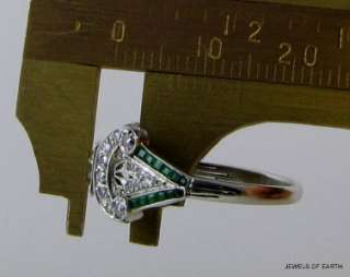 ANTIQUE ART DECO 0.75CT FULL CUT DIAMOND EMERALD PLATINUM ENGAGEMENT