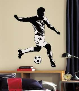 New Giant Black & White SOCCER PLAYER WALL DECAL Sports Stickers Boys