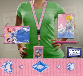 Disney Princesses Pink Lanyard w/ Ticket Holder / Purse