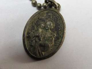 VINTAGE SILVER ITALIAN CATHOLIC MEDAL PENDANT NECKLACE