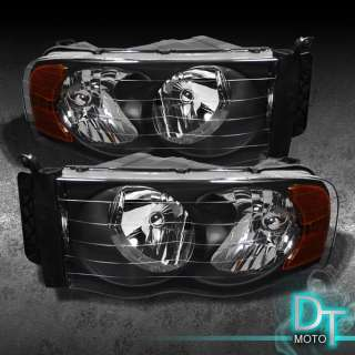 02 05 DODGE RAM PICKUP BLACK O HEADLIGHTS LAMPS LIGHTS (LEFT+RIGHT