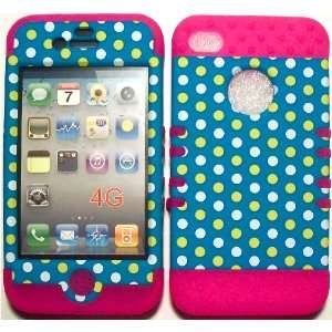 Polka Dots on Pink Silicone for Apple iPhone 4 4S Hybrid 2