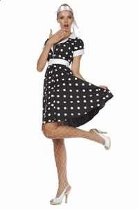 50s Rock Black Dots Long Dress: Clothing