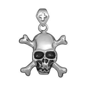 Double Cross Skull Pendant   Collectible Medallion Necklace Accessory