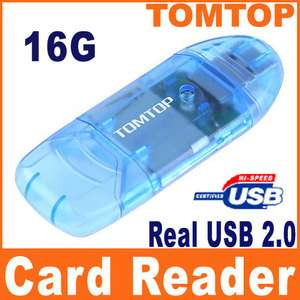 Real USB 2.0 16G Mini SD/MMC/RS MMC Memory Card Reader