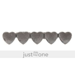 Fashion Lady 5 Hearts Metal Double Ring Two Finger in 1