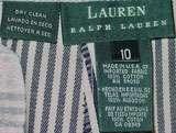 RALPH LAUREN LADIES DENIM PINSTRIPED PANT SUIT 8/10 NEW