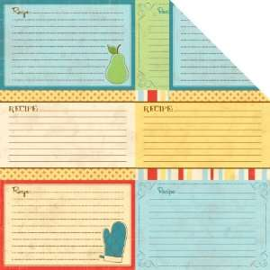 Double Sided Spot Varnish Die Cut Paper 12X12 Recipe Card: Home