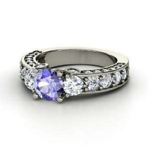 Rebecca Ring, Round Tanzanite 14K White Gold Ring with Diamond