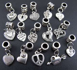 New 100pcs Tibetan Silver Mix Heart Dangle Charms Beads Fit Charm