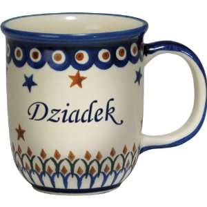 New Polish Pottery 12oz Mug   DZIADEK, GRANDPA Patio, Lawn & Garden