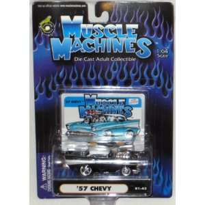 Muscle Machines Black 57 CHEVY   164 Scale Die Cast Car