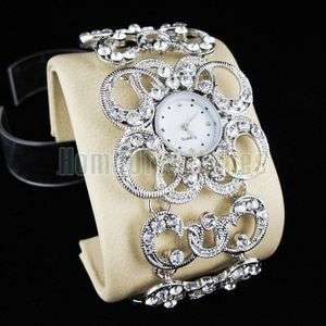 Luxury Silver S/Steel Ladies Crystal Quartz Wrist Watch