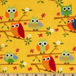 44 Wide Moda Ten Little Things Owls Yellow Fabric By The
