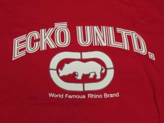 NWT NEW Mens Ecko Unltd T Shirt Micro Ecko Tee True Red Urban Print