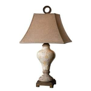 crackled ivory and tan rusty linen table lamp home kitchen. Black Bedroom Furniture Sets. Home Design Ideas