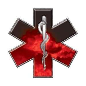 Star of Life EMT EMS Fire Red 6 Reflective Decal