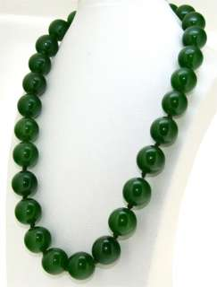 Rare 16mm 19 Necklace Olive Green Jade Round Gemstone Beads Knotted