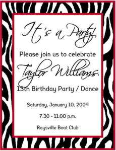 PERSONALIZED BIRTHDAY INVITATIONS   ZEBRA PRINT