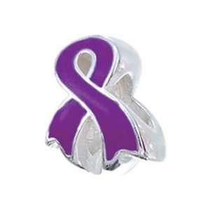 Silver Awareness Ribbon Purple Bead / Charm Finejewelers Jewelry
