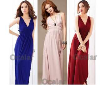 New Fashion Women Elegant Halter V neck Long Straight Dress Evening