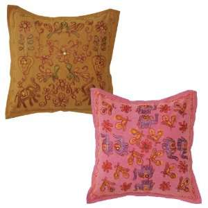 Cushion Cover Embellished with Mirror Work (Ccset885)