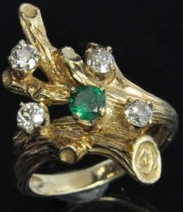 Estate Vintage 14K Yellow Gold Natural Emerald Diamond Tree Branch