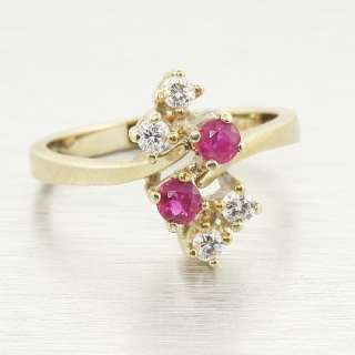 Vintage Edwardian 14k Gold Ruby Diamond Ring Jewelry