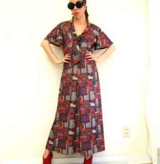 60s 70s Vtg Psychedelic Carpet Rug Long Maxi Dress XL