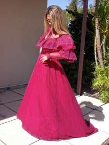 VTG BURGANDY RED LACE BRIDAL WEDDING GOWN party DRESS M