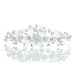 Wedding Flower Rhinestone Crystal Beads Peals Prom Crown Tiara Beauty