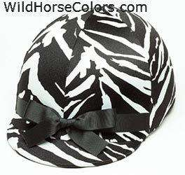 ZEBRA Print English Riding Helmet Cover Soft Visor NEW