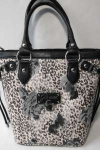NEW WITH TAG GUESS ENTANGLED BLACK FLORAL SATCHEL HANDBAG PURSE W