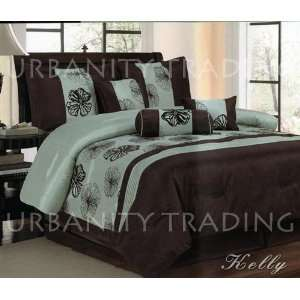 Kelly 7Pc Comforer Se Sage, Chocolae Floral Bed in a bag Queen Size