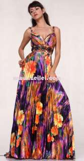 10026 Halter Printed Occasion Prom Ball Gown Formal Dress