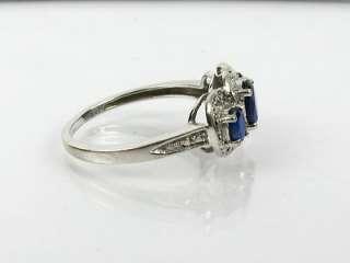 Estate 1ctw Natural Blue Sapphire & Pave Diamond 10k White Gold Ring