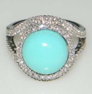 Diamond Halo Turquoise 18Kt. White Gold Leo Pizzo Ring