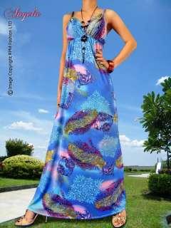 NEW Blue/Pink Evening/Cocktail Long Summer Maxi Dress Size Sz S M L 4