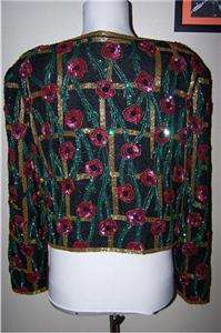 80s Sequined & Beaded black short jacket pink flowers silk M