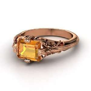 Acadia Ring, Emerald Cut Citrine 14K Rose Gold Ring