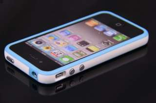 LIGHT BLUE/WHITE BUMPER CASE COVER METAL BUTTON FOR IPHONE 4 4G