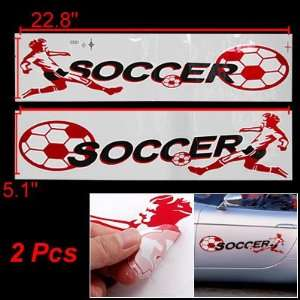 Amico Car Red White Soccer Pattern Adhesive 2D Stickers 2