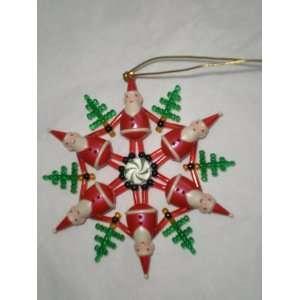 Christmas Tree Santa Ring Ornament, 3 Deep, Plastic